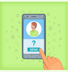Call center concept cellphone cartoon style vector