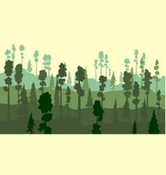 Cartoon of coniferous forest in green tone vector