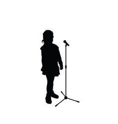 Child sweet silhouette with microphone vector