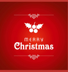 christmas card with red cherries and background vector image