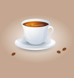 Classic black coffee in a white cup and saucer vector