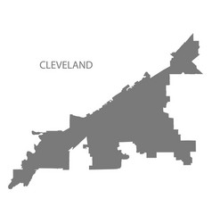 Cleveland ohio city map grey silhouette shape vector