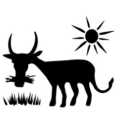 Cow grazing stencil vector