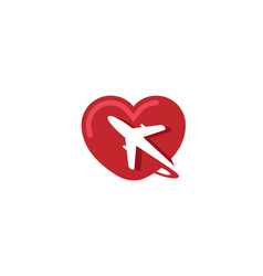 creative heart aircraft logo vector image