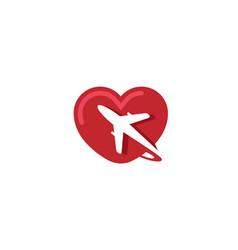 Creative heart aircraft logo vector