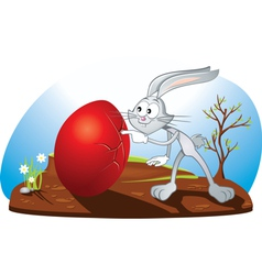 Curious Easter Bunny Cartoon vector