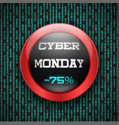 cyber monday glass button vector image