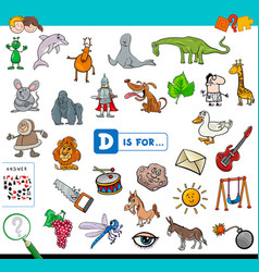 D is for educational game for children vector