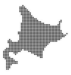 Dotted pixel hokkaido island map vector