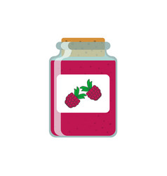 Drawing jars of raspberry jam on vector