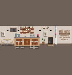 Empty cafe interior cofee shop bar counter with vector