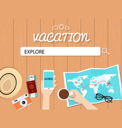 explore search graphic for vacation vector image