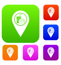 fast food and restaurant map pointer set color vector image
