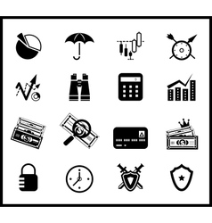 Finance protection icon set vector image