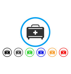 first aid toolkit rounded icon vector image