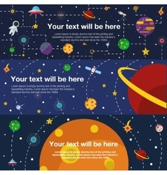 Flat web banner space universe vector
