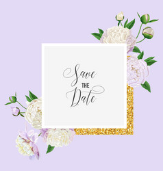 floral wedding invitation white peony flowers vector image