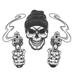 Gangster skull in beanie hat vector
