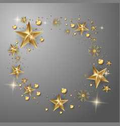 Gold stars christmas greeting card on a gray vector
