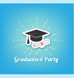 graduation hat graduation party lettering vector image