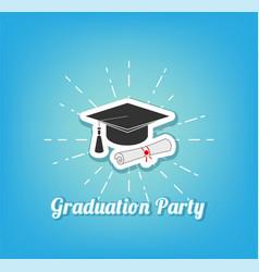 Graduation hat party lettering vector