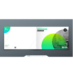 Green brochure design horizontal cover template vector