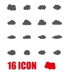 Grey cloud icon set vector