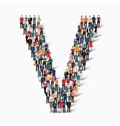 group people shape letter V vector image