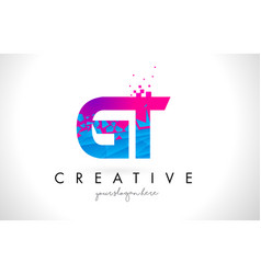 Gt g t letter logo with shattered broken blue vector