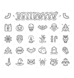 Halloween icon set thin line art halloween vector