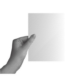 hand holding sheet of paper vector image