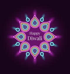 happy diwali banner in bright neon style vector image
