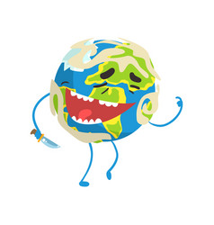 happy laughing cartoon earth planet character vector image
