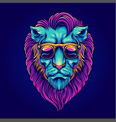 head lion portrait with sunglasses psychedelic vector image