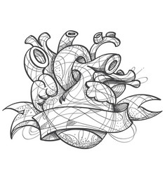 heart tattoo sketch hand drawing style picture vector image