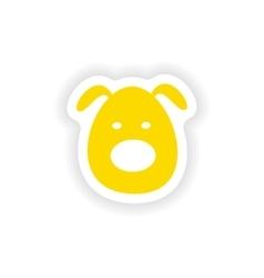Icon sticker realistic design on paper dog vector