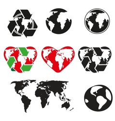 Icons globe and arrows vector