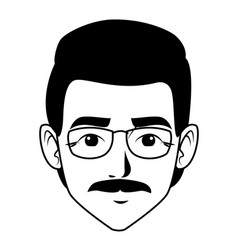 Indian man face avatar cartoon in black and white vector
