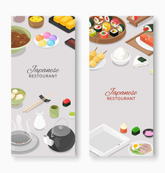 japanese restaurant traditional cuisine with sushi vector image