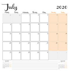 July 2020 monthly calendar planner printable vector