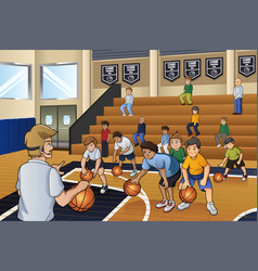 kids practicing basketball vector image