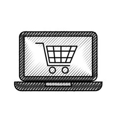Laptop computer cart shopping online order vector