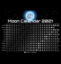 Lunar calendar with moon and stars template vector