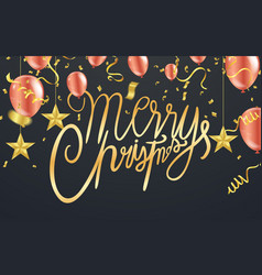 merry christmas text on background lettering for vector image