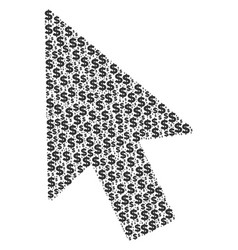 mouse cursor collage of dollar and dots vector image