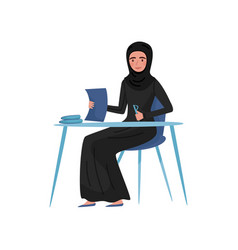 muslim businesswoman sitting at table and signing vector image