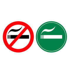 no smoking and smoking area signs vector image