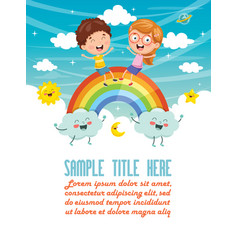 of kids sitting on rainbow vector image