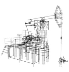 oil pump jack rendering of 3d vector image