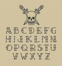 Old school tattoo alphabet vector